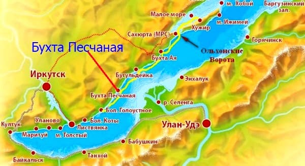 Бухта Песчаная на карте Байкала