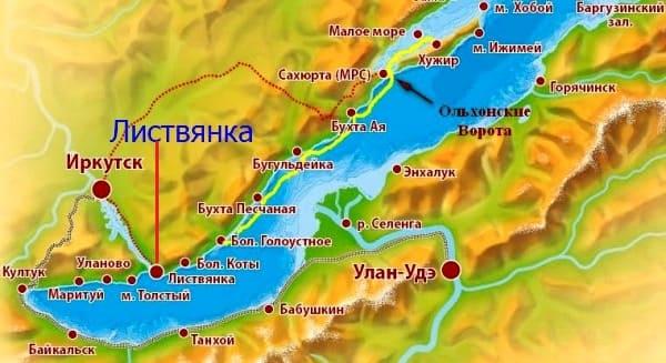 Листвянка на карте