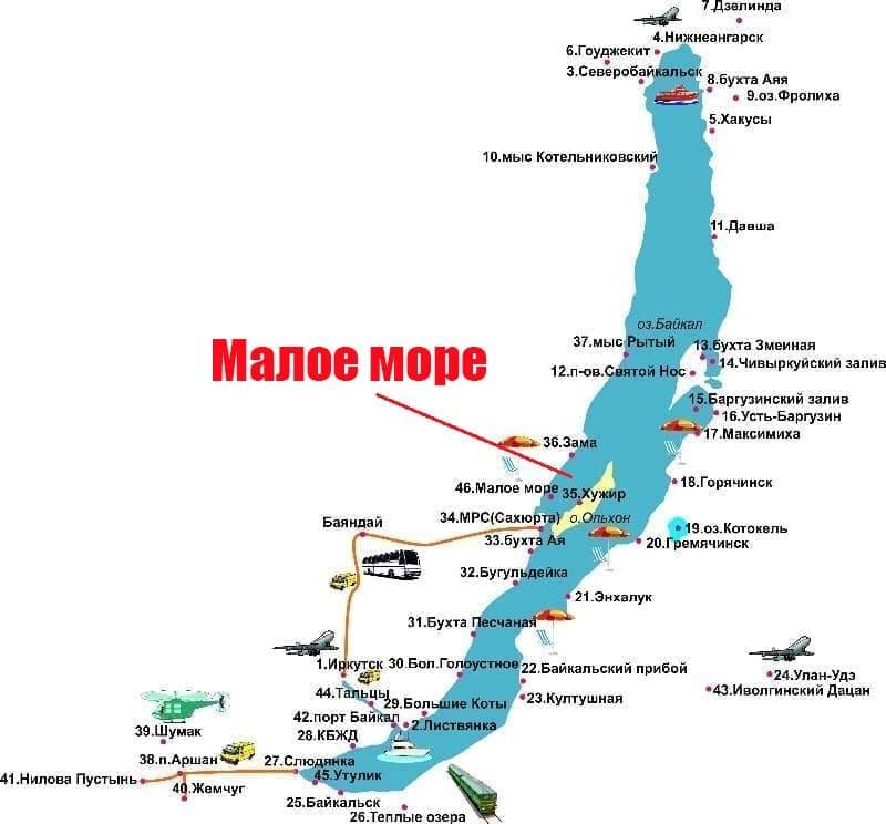 Малое море на карте Байкала