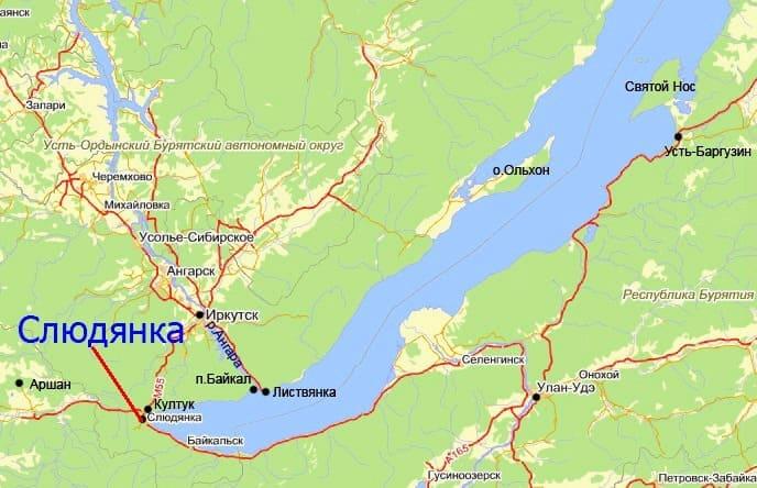 Слюдянка на карте Байкала