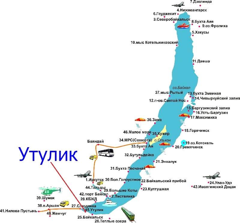 Утулик на карте Байкала