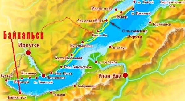 Байкальск на карте