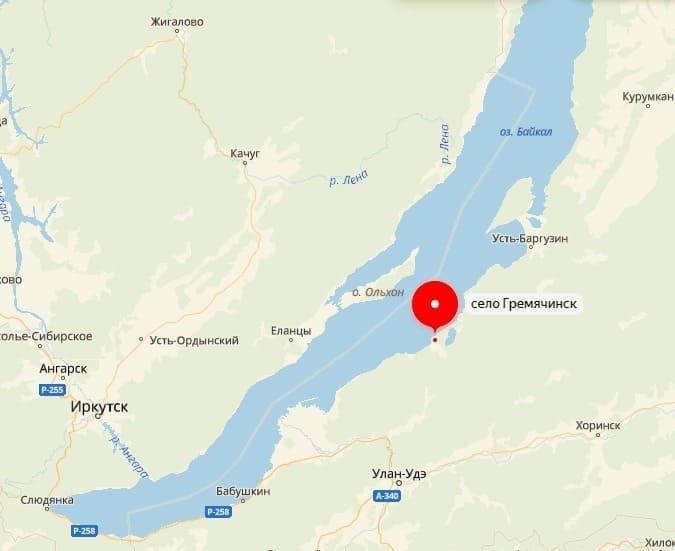 Гремячинск на карте Байкала