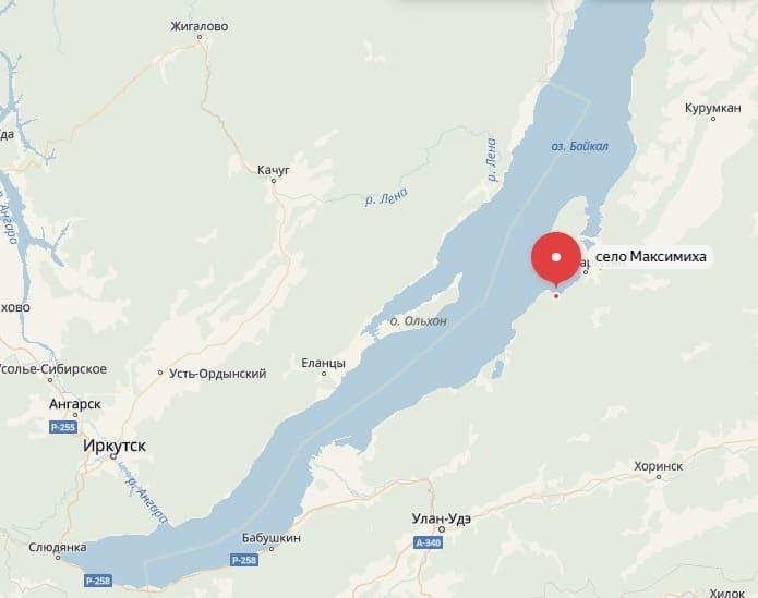 Максимиха на карте Байкала