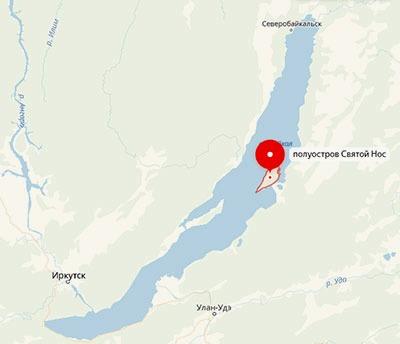 полуостров Святой Нос на карте Байкала